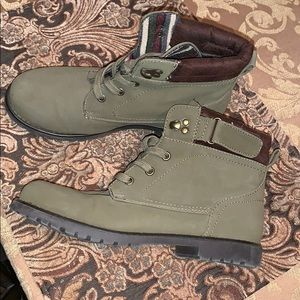 Olive green combat boots